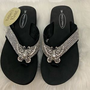 Kristen's kloset butterfly style beaded flip flops